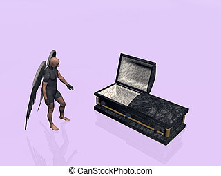 Casket, coffin. - An angel standing next to a casket,...