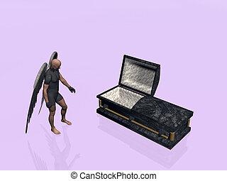 Casket, coffin. - An angel standing next to a casket,...