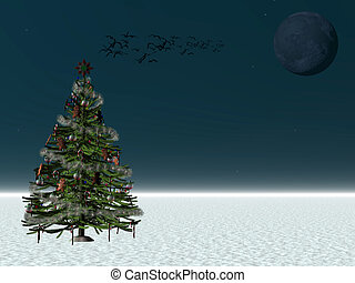 Decorated Christmas tree, copyspace. - Decorated Christmas...