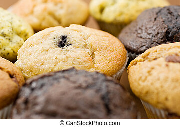 Food 10 - A Plate of muffins - Blueberry muffin in focus -...