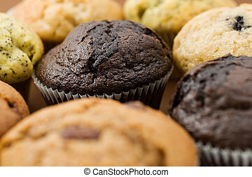 Food 11 - A Plate of muffins - chocolate muffin in focus -...