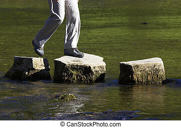 crossing the river - crossing three stepping stones in a...