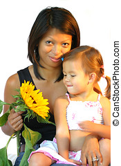 Mother and daughter - Attractive philippine woman with child
