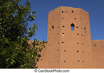 city wall - Part of city wall Marrakech morocco