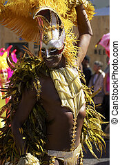 Man in costume nottinghill carnival london