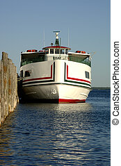 Ferry Boat - A ferry boat docked at Mackinac Island,...