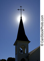 Church-Spire-Belfry - A backlit church spire with belfry...