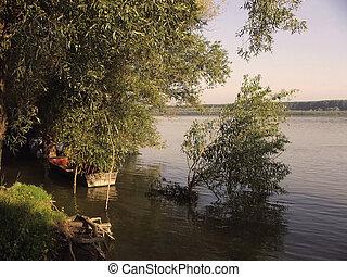 Fisherman boat - Boat on river Danubie