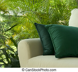 Outdoor Patio - An outdoor patio with a comfortable sofa