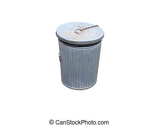 Garbage can on white background.