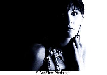 Expressive Teen Girl In Blue Tones. Shot in studio over...