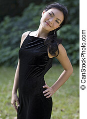 Outdoor Model 9 - A beautiful chinese model in a black...