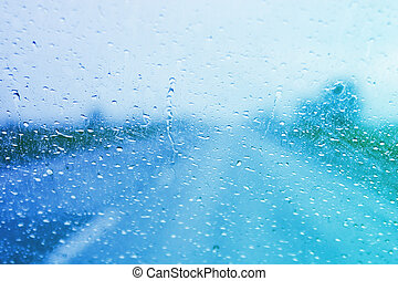 Rainy windshield on a stormy day