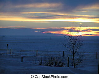 Winter Sunset - Cold prairie winter sunset.