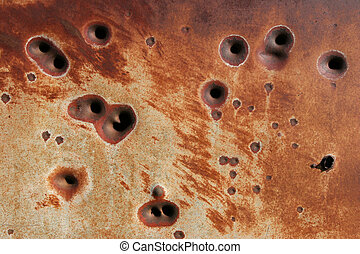 rusting bullet holes background