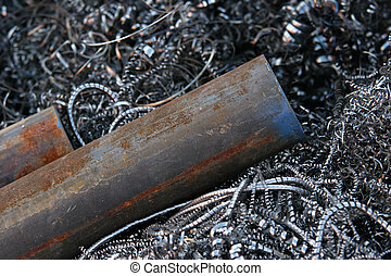 steel pipes on shavings - steel pipes on a steel shavings....