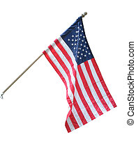 American flag on white background.