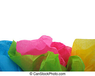 Tissue paper with room for text on white background.