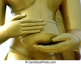 Buddhas hands - Hands of a Buddha statue in Thailand