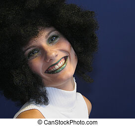 Party with wig - Partygirl with afro-wig on.