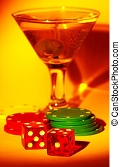 Martini and Dice - Martini Glass With Dice and Chips