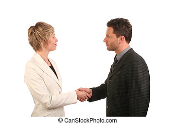 Man woman handshake - White man and woman - business...