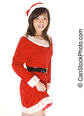 Santarina 5 - A cute young asian woman dressed in a santa...