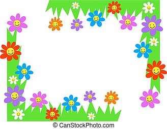 floral corners - happy flowers page corner borders