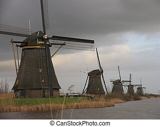 Dutch windmills in Kinderdijk, Holland