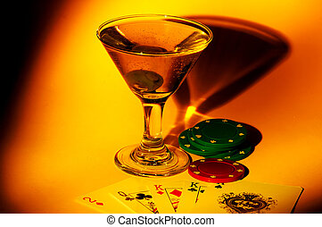Night Out - Martini Glass and Playing Cards