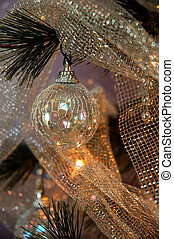 Christmas Tree - Iridescent ornaments, silver beads and...