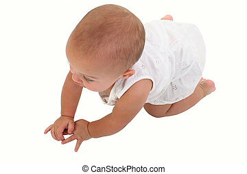 Adorable Baby Girl Crawling On Floor - Baby girl in white...