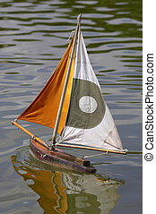 Wooden sailing boat in jardin des tuileries paris france,...