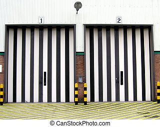 loading bay doors - brightly painted loading bay doors