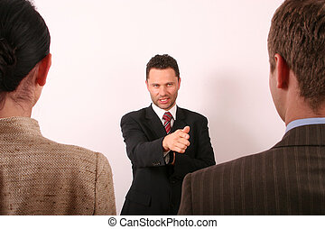 selection 1 - Hadsome business man pointing at man - 1