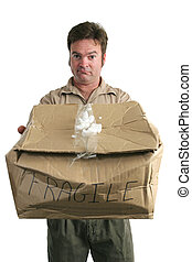 Guilty Delivery Man - A delivery man holding a smashed...