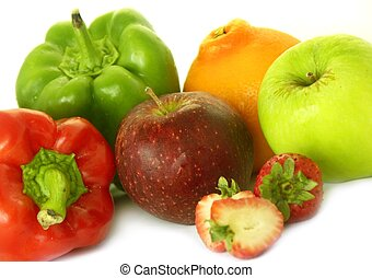 various fruit & veg - various fruit and veggies,isolated