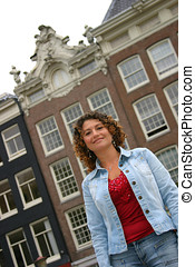 Tunisian girl - Happy tunisian girl in front of amsterdam...