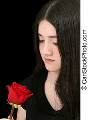 Tween Girl Rose - Beautiful young girl with long black hair...