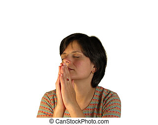 Woman praying over white background