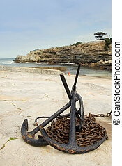 harbour 6 - Anchors and anchor chains on Hermanus Harbour,...