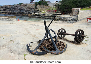 harbour #7 - Anchors and anchor chains on Hermanus Harbour,...