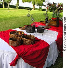 wedding reception buffet, with batik decorations
