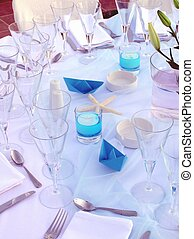 wedding reception, close up of table setup