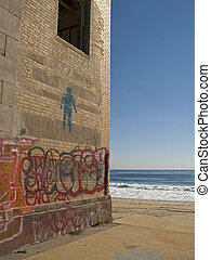 Beach Art - This is a shot of an abandoned building at an...