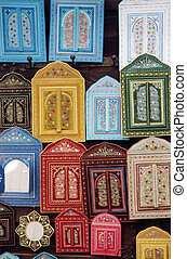 morocco decorations - door-shaped decorative elements on a...