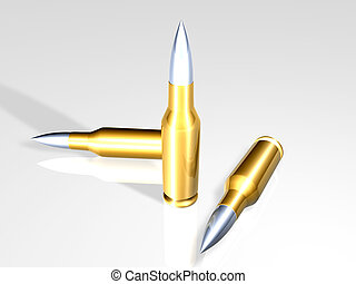 Bullets - 3D rendered Gun bullets. Semi-isolated (with...