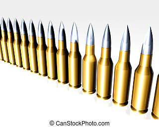 Bullets in line - 3D rendered bullets. Semi-isolated (with...