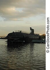 Submarine at the berth of Moscow-river