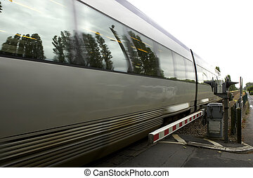 railroad crossing - French train passing through unmanned...